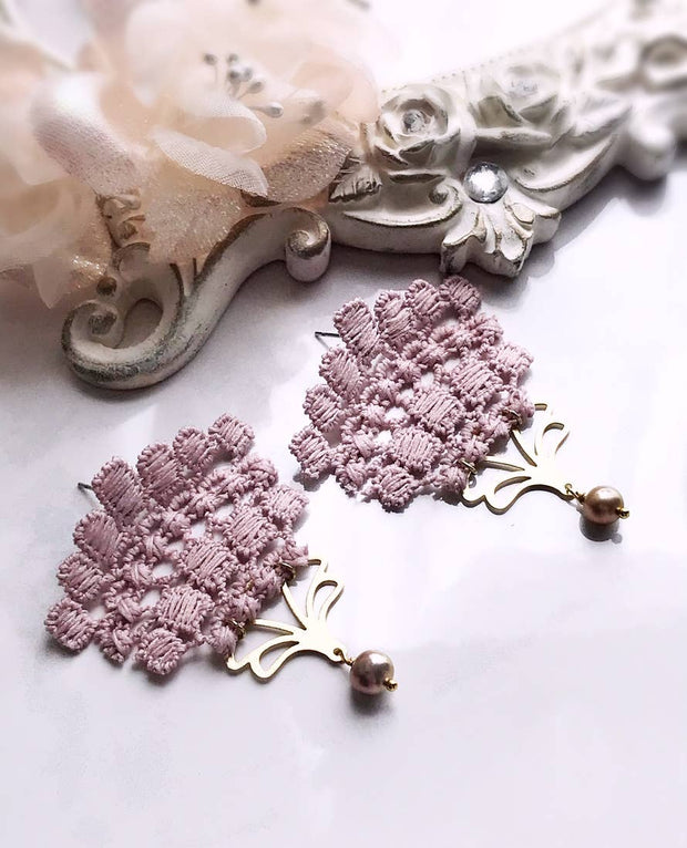 Baby Roses French Lace Natural Pearl Bridal Earrings - Joy of London Jewels