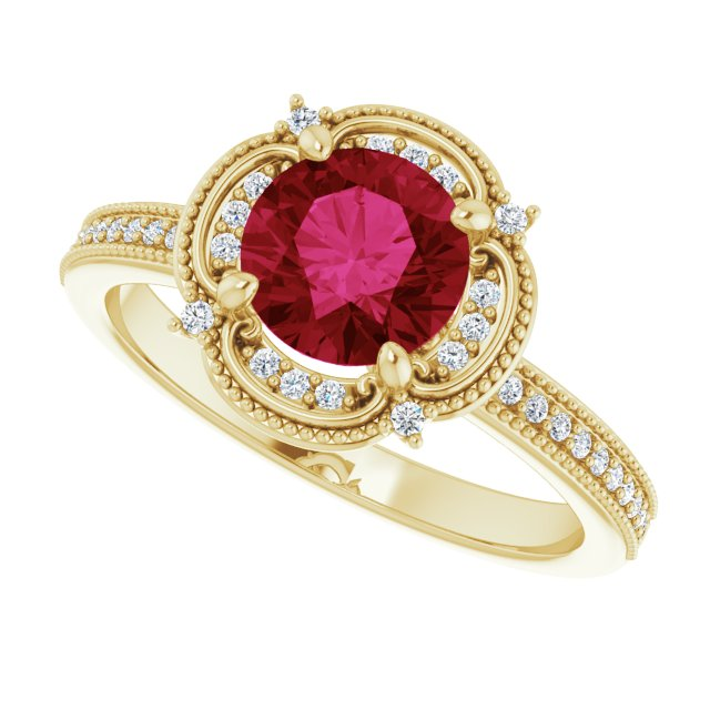 14K Yellow Gold 1Ct Round Cut Red Ruby Earth Mined Diamond Halo Engagement Ring - Joy of London Jewels