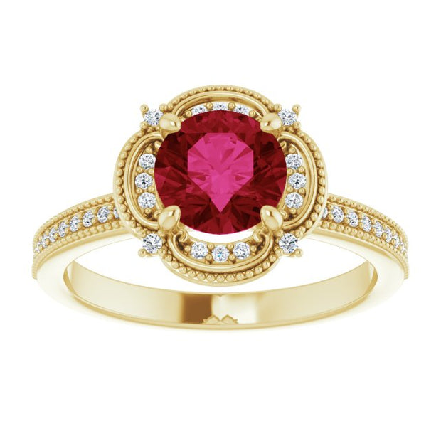 14K Yellow Gold 1Ct Round Cut Red Ruby Earth Mined Diamond Halo Engagement Ring