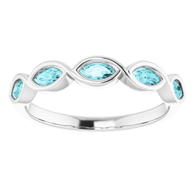 A Handmade 10K White Gold Natural 4x2mm Oval Cut Blue Zircon Anniversary Ring - Joy of London Jewels