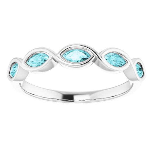 A Handmade 10K White Gold Natural 4x2mm Oval Cut Blue Zircon Anniversary Ring
