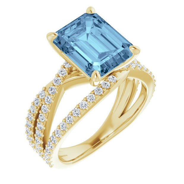 A Swarovski 10K White Gold 4.1CT Emerald Cut Blue Aquamarine Criss Cross Engagement Ring