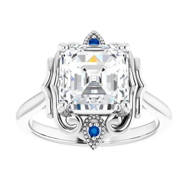 14K White Gold 8x8mm Asscher Moissanite & Natural Blue Sapphire Accented Engagement Ring - Joy of London Jewels