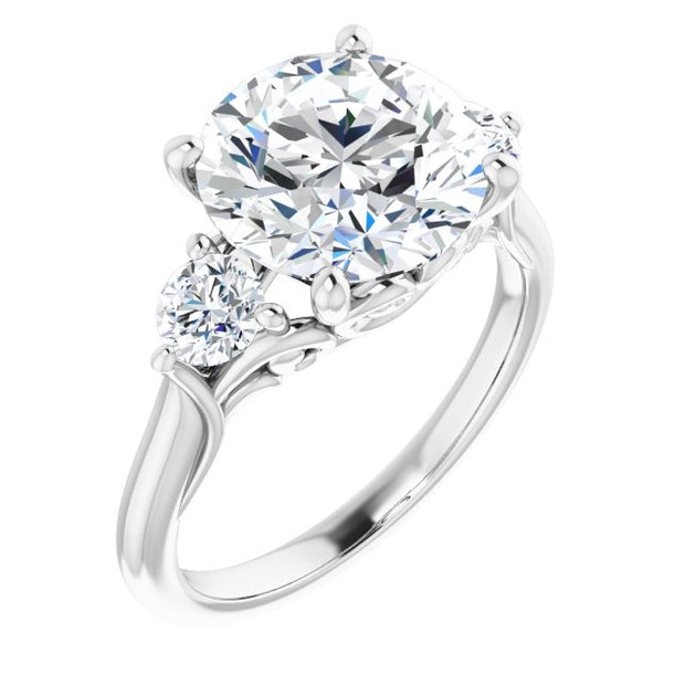A Handmade Natural 14K White Gold 9.5mm Round Cut Moissanite Diamond Engagement Ring - Joy of London Jewels
