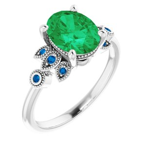 Sterling Silver 9x7mm Oval Green Emerald & Ceylon Blue Accented Engagement Ring - Joy of London Jewels