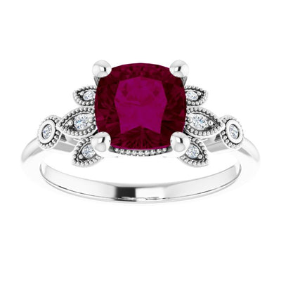 Sterling Silver Natural 7mm Cushion Cut Rhodolite Garnet & Ethically Mined Diamond Accented Engagement Ring - Joy of London Jewels