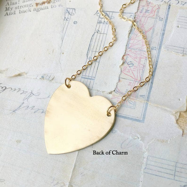 Handmade Modern Gold Heart Necklace - Joy of London Jewels