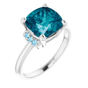 A Natural Antique Square AA London Blue & Aquamarine Engagement Ring - Joy of London Jewels