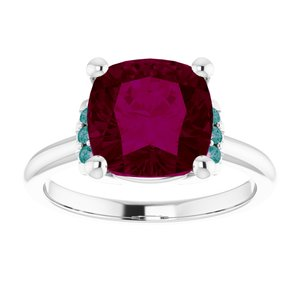 A Natural Antique Square AA Rhodolite Garnet & Alexandrite Engagement Ring - Joy of London Jewels