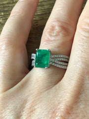 2.2CT Emerald Cut Green Emerald Moissanite Triple Band Engagement Ring