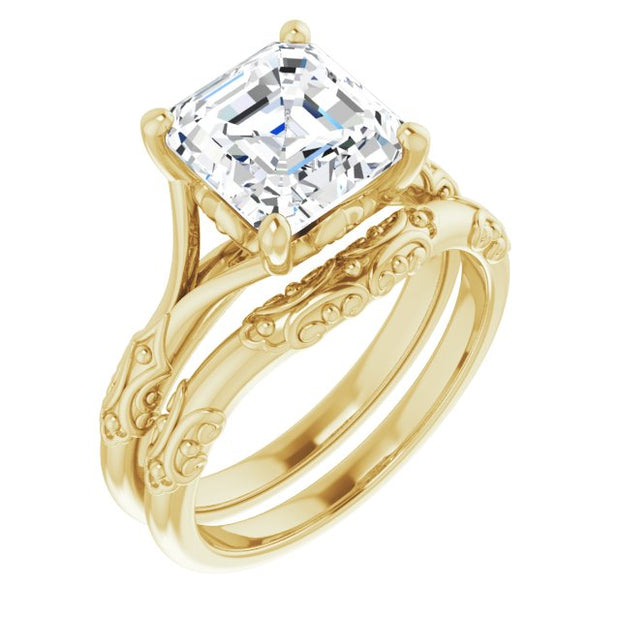 14K Yellow Gold 3CT (8mm) Asscher Lab Grown Diamond Engagement Ring - Bridal Set - Joy of London Jewels