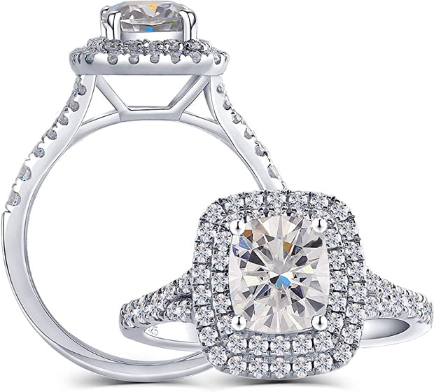 A 1.5CT Cushion Cut Moissanite Halo Engagement Ring
