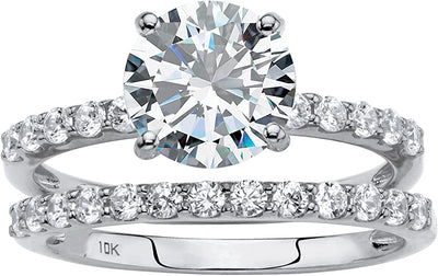 10K White Gold 2CT Round Cut Belgium Lab Diamond Bridal Set - Joy of London Jewels
