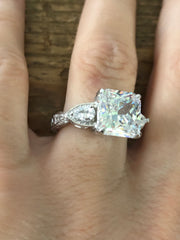 A Vintage Style 4CT Princess Cut Belgium Lab Diamond Ring - Joy of London Jewels