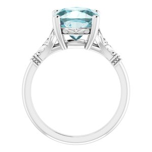 A Handmade Natural 10K White Gold 9mm x 9mm Antique Square Sky Blue Topaz Engagement Ring - Joy of London Jewels