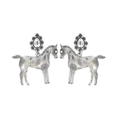 Hand Cast Silver Bronze Horse Earrings