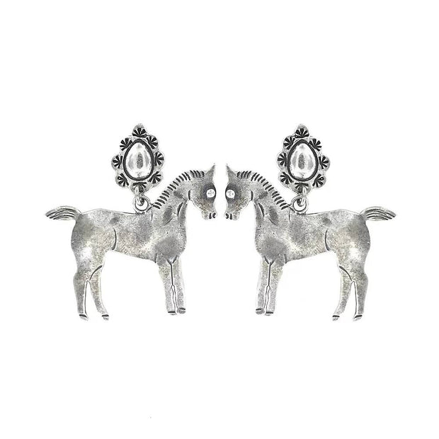 Hand Cast Silver Bronze Horse Earrings - Joy of London Jewels