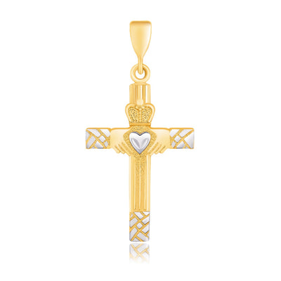 14K Gold High Polish Claddagh Cross Pendant Necklace - Joy of London Jewels
