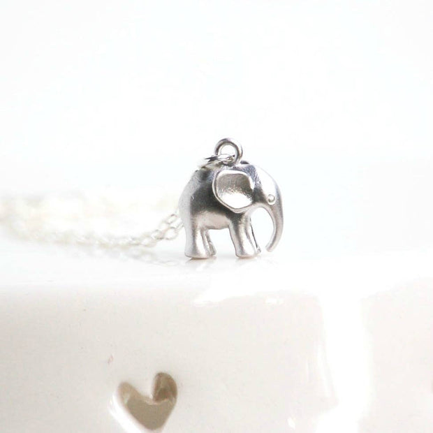 Tiny Silver Good Luck Elephant Necklace - Joy of London Jewels