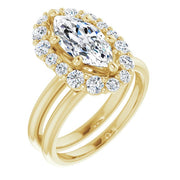 14K Yellow Gold 1.5CT (12 x 6mm) Marquise Cut Moissanite Halo Engagement Ring - Joy of London Jewels