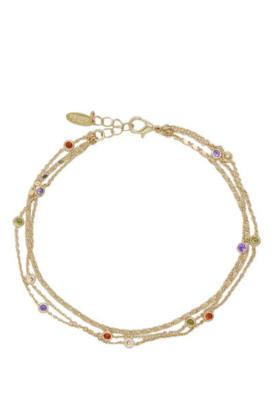 18K Yellow Gold or Rhodium Over the Rainbow Multi-Chain Crystal Anklet - Joy of London Jewels