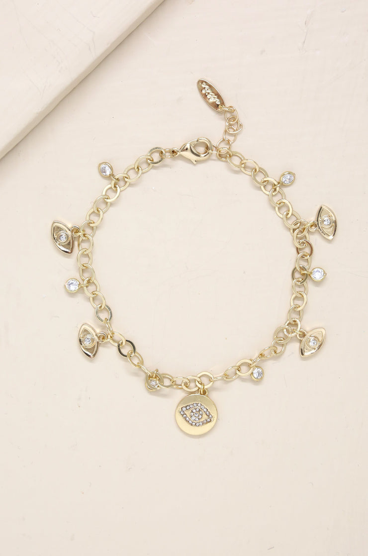 Third Eye Crystal Charm 18k Gold Plated Anklet - Joy of London Jewels