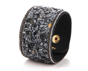 Natural Black & Grey Obsidian Snap Cuff Bracelet
