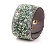 Natural Green Adventurine Pebble Snap Cuff Bracelet