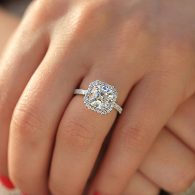 14K White Gold 3CT (8mm) Moissanite Asscher Cut Halo Engagement Ring - Joy of London Jewels