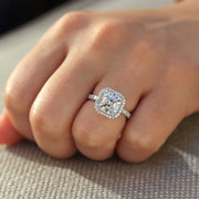 14K White Gold 2CT (7mm) Moissanite Asscher Cut Halo Engagement Ring - Joy of London Jewels