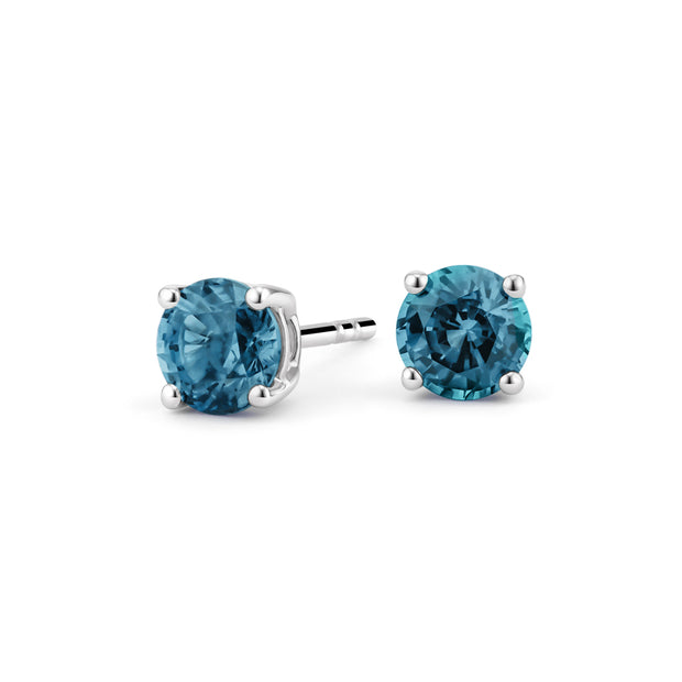 6mm Round Cut Blue Topaz AAAAA Cubic Zirconia Stud Earrings