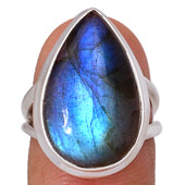A Handmade Natural Blue Fire Labradorite Split Shank Engagement Ring - Joy of London Jewels