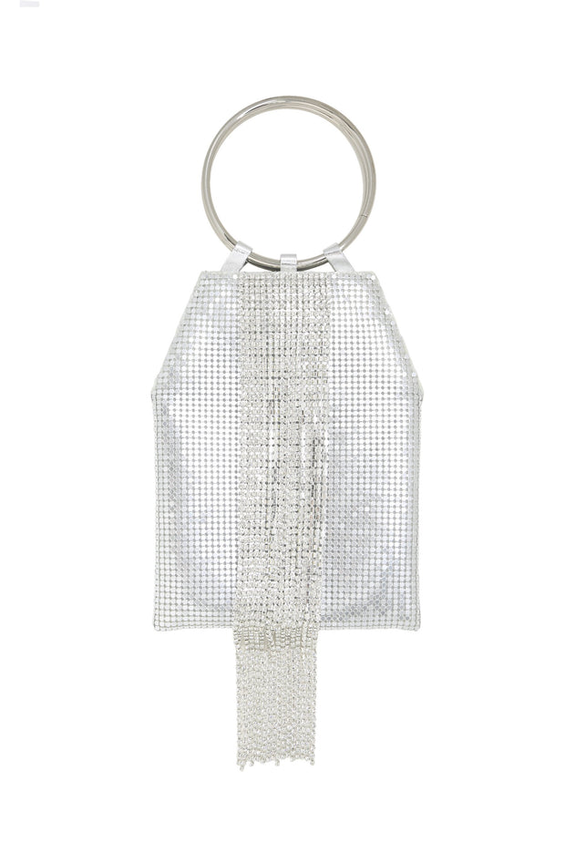 Cannes Silver Mesh Handle Bag
