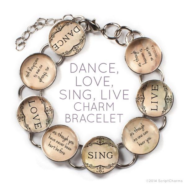 Dance, Love, Sing, Live - Glass Charm Bracelet with Heart Charm - Joy of London Jewels