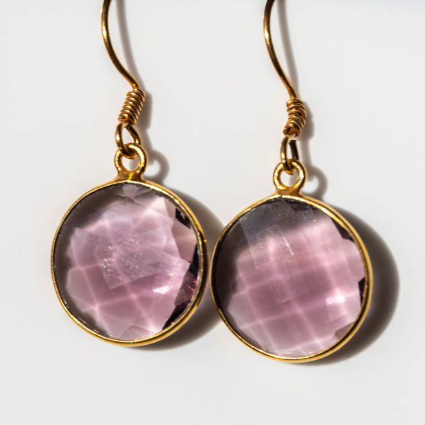 Natural Amethyst Round Earrings