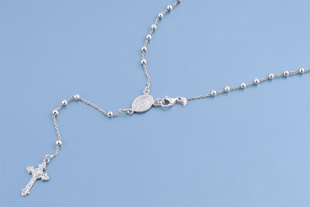 Italian Platinum Rosary Necklace Prayer Pendant