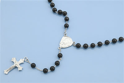 Italian Sterling Silver & Natural Black Onyx Rosary Necklace Prayer Pendant - Joy of London Jewels