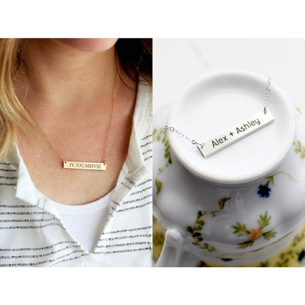 Personalized Bar Necklace Women Men
