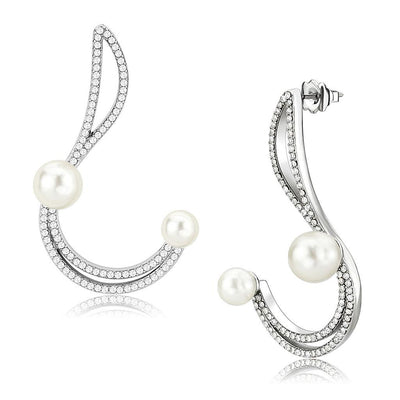 Geometric Pearl Wedding Earrings - Joy of London Jewels
