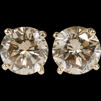 7mm Round Cut Champagne AAAAA Cubic Zirconia Stud Earrings