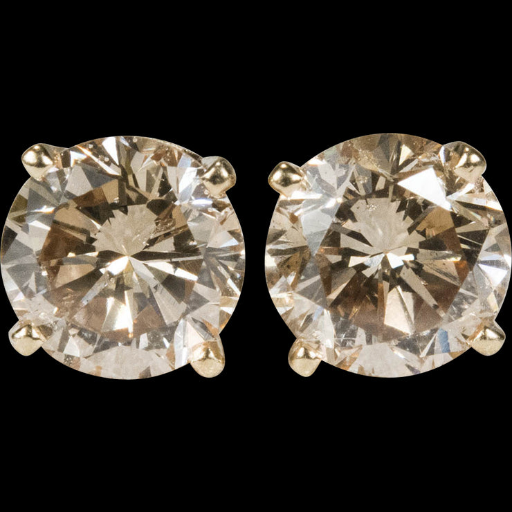 7mm Round Cut Champagne AAAAA Cubic Zirconia Stud Earrings - Joy of London Jewels