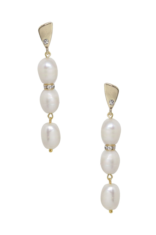 18k Yellow Gold & Natural Pearl Earrings