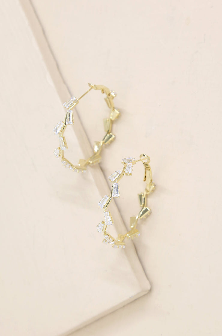 Zig Zag Crystal Baguette Hoop Earrings - Joy of London Jewels