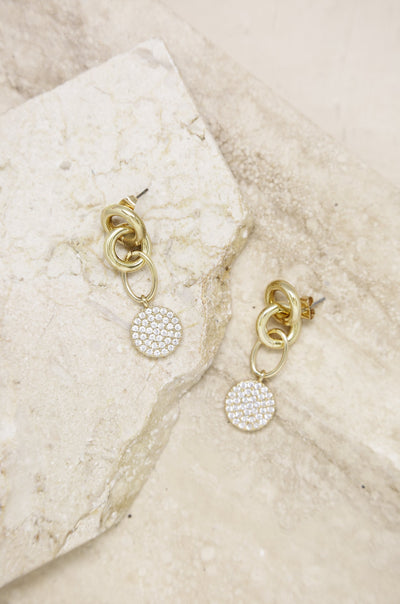18K Yellow Gold Crystal Circle Earrings