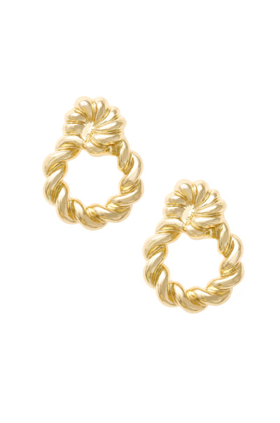 Twist and Shout 18k Gold Plated Textured Earrings