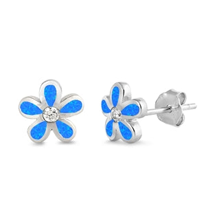 Royal White or Blue Opal Floral Plumeria Stud Earrings