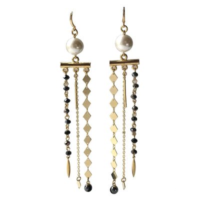 Pearl Pyrite Hematite Occhini Chandelier Earrings - Joy of London Jewels