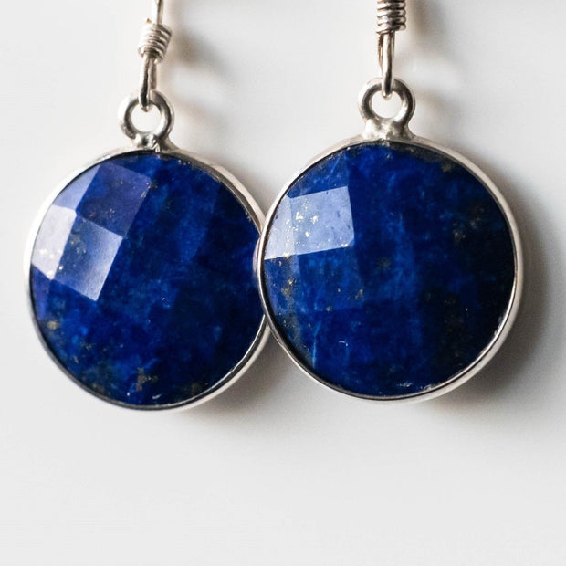 Natural Lapis Lazuli Round Drop Earrings