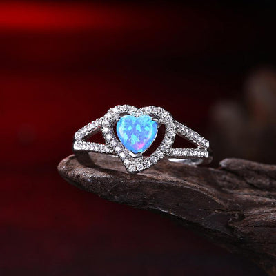 Heart Shaped Cut Opal Ring in 18K White Gold - Joy of London Jewels