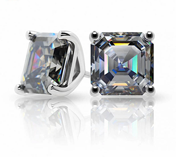 White Gold Translucent Gray Moissanite Asscher Cut Stud Earrings - Joy of London Jewels